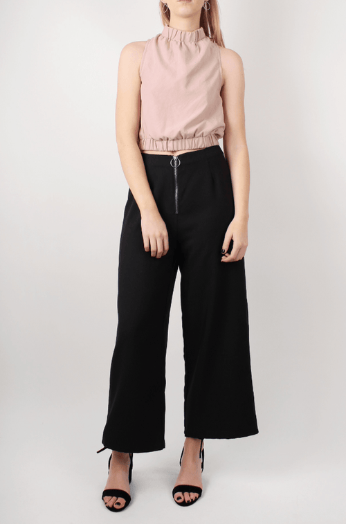 BLUSH CROPPED HIGH NECK TOP