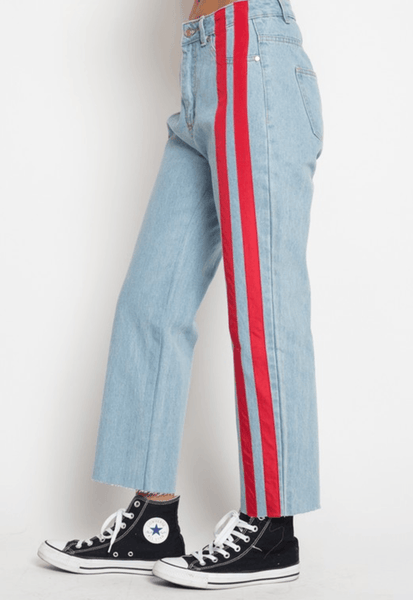 red striped mom jeans