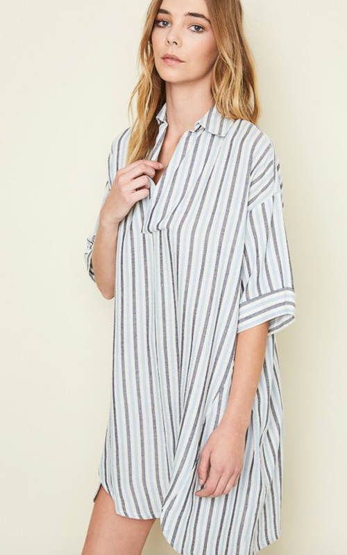 Oversized Striped Collared Dress
