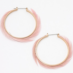 pink pastel feather hoops
