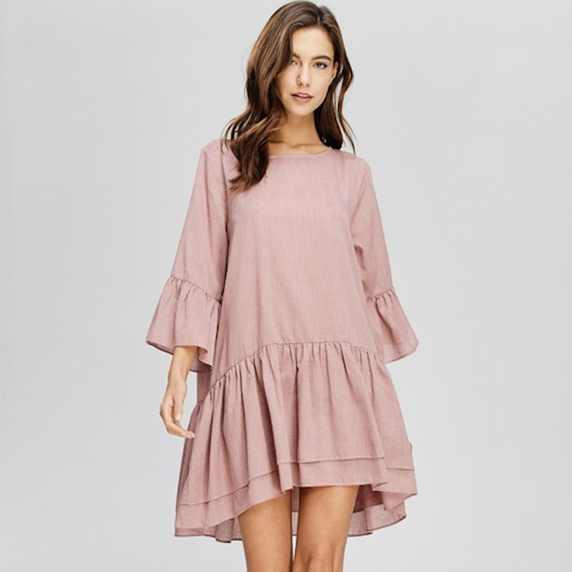 dusty mauve ruffled mini dress - Shop trendy womenswear styles on www.downerss.com