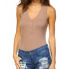 nude ribbed sleeveless bodysuit - Shop trendy womenswear styles on www.downerss.com