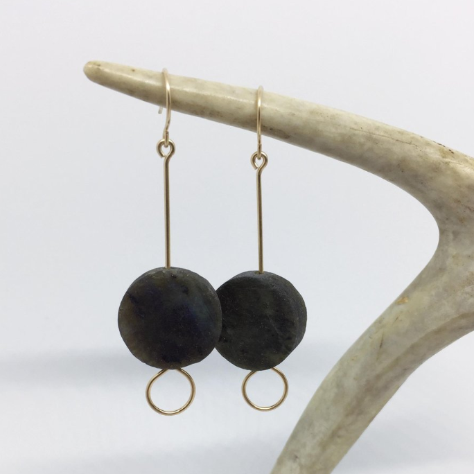 labradorite coin earring // bopbe - Shop trendy womenswear styles on www.downerss.com