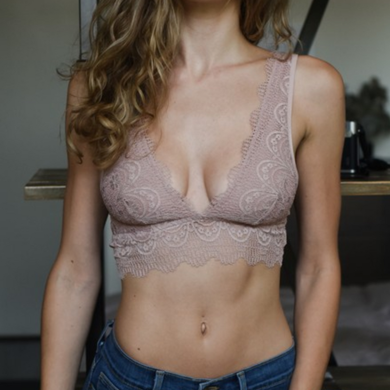 dusty rose lace bralette - Shop trendy womenswear styles on www.downerss.com