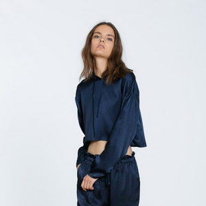 navy satin hoodie - Shop trendy womenswear styles on www.downerss.com