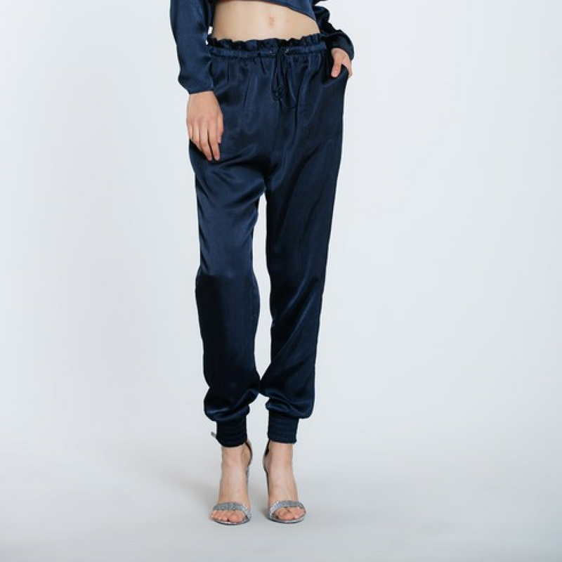 navy satin joggers - Shop trendy womenswear styles on www.downerss.com