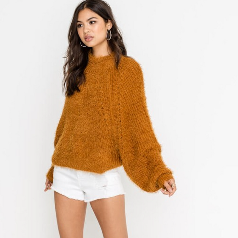 fuzzy camel sweater - Shop trendy womenswear styles on www.downerss.com