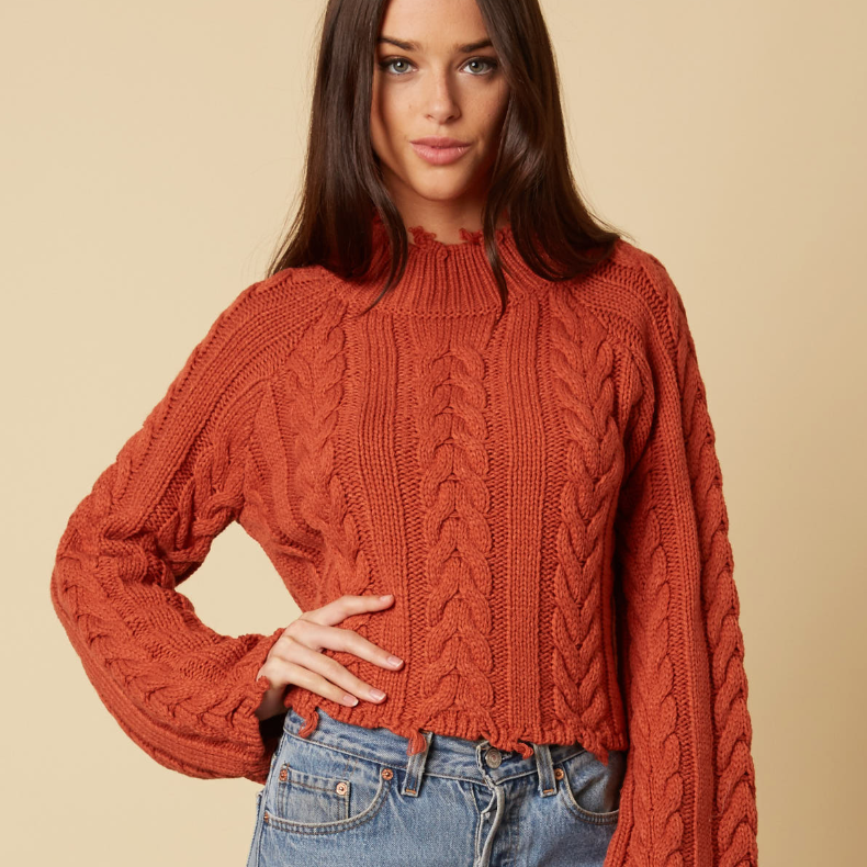 rust distressed knit sweater