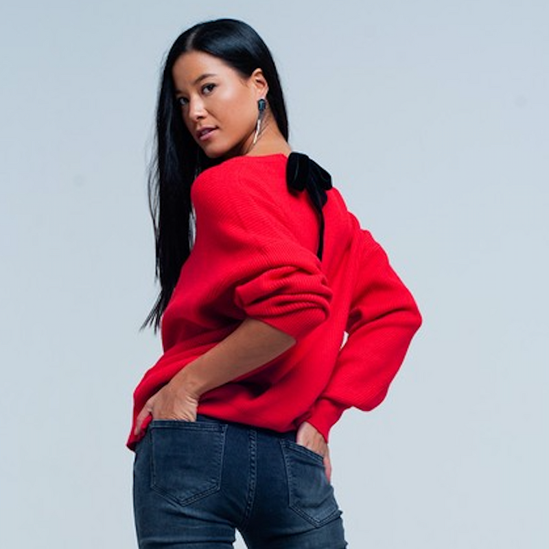cherry red sweater - Shop trendy womenswear styles on www.downerss.com