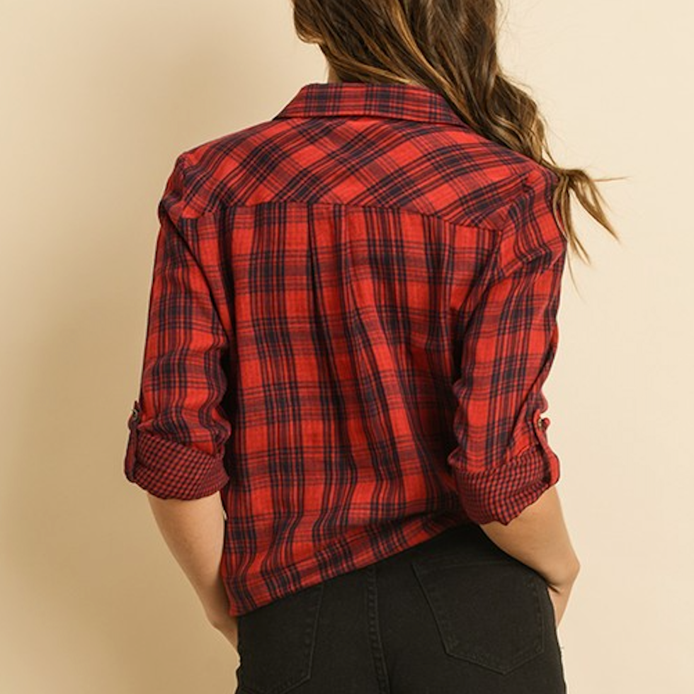 red tie front flannel