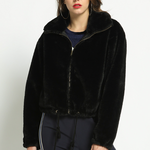 black faux fur bomber - Shop trendy womenswear styles on www.downerss.com
