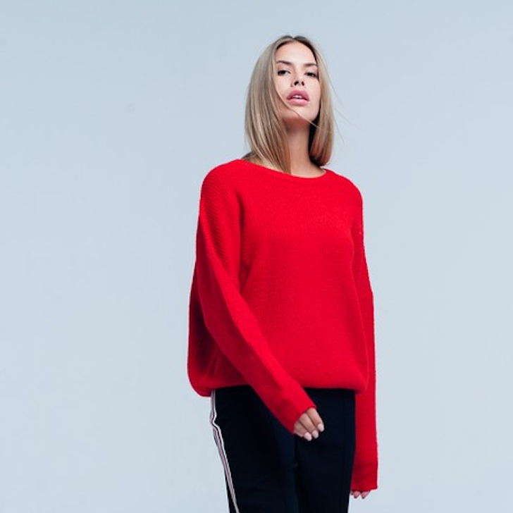 red & rough knit sweater