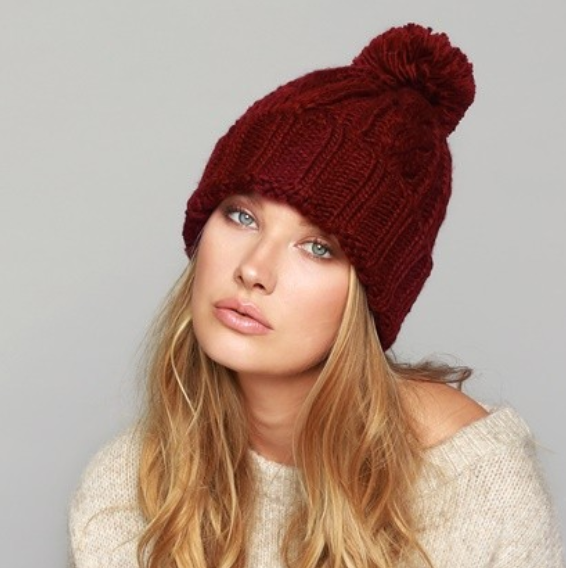 knitted beanie with pom pom