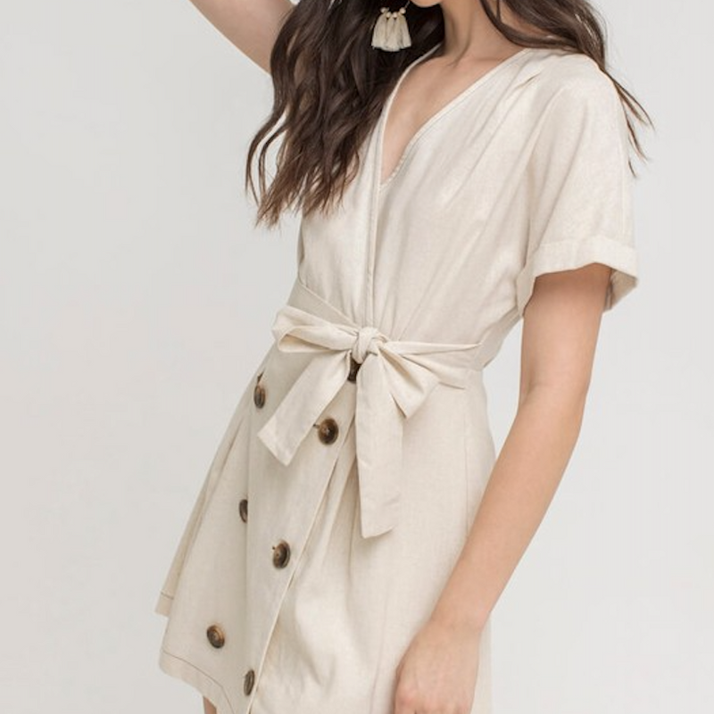 Button Down Cream Linen Wrap Dress - Shop trendy womenswear styles on www.downerss.com