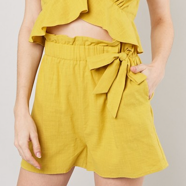 yellow tie shorts