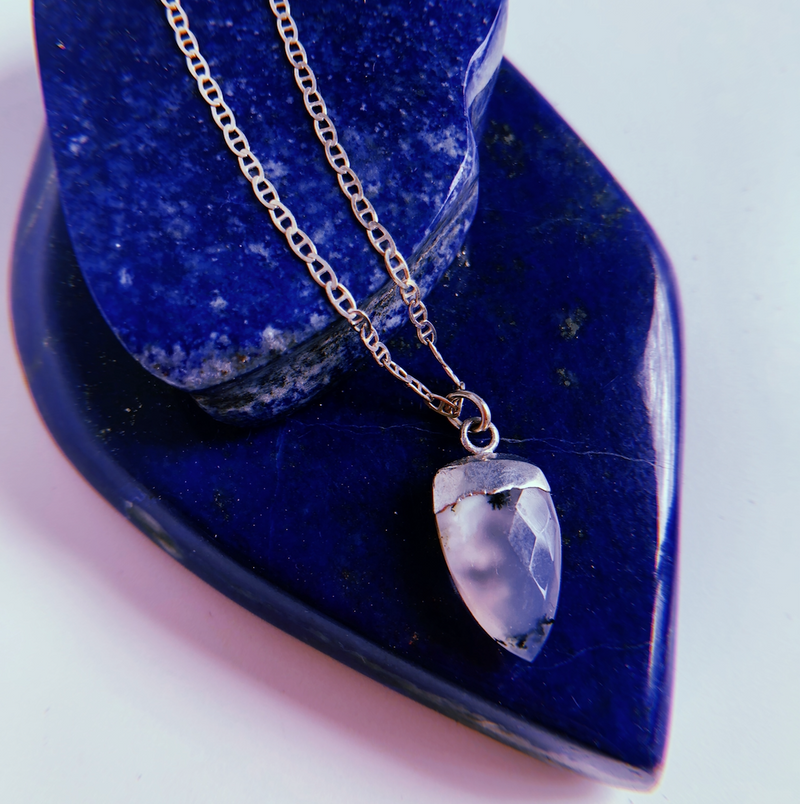 Dendritic Opal Claw + Sterling Silver Chain - Shop trendy womenswear styles on www.downerss.com