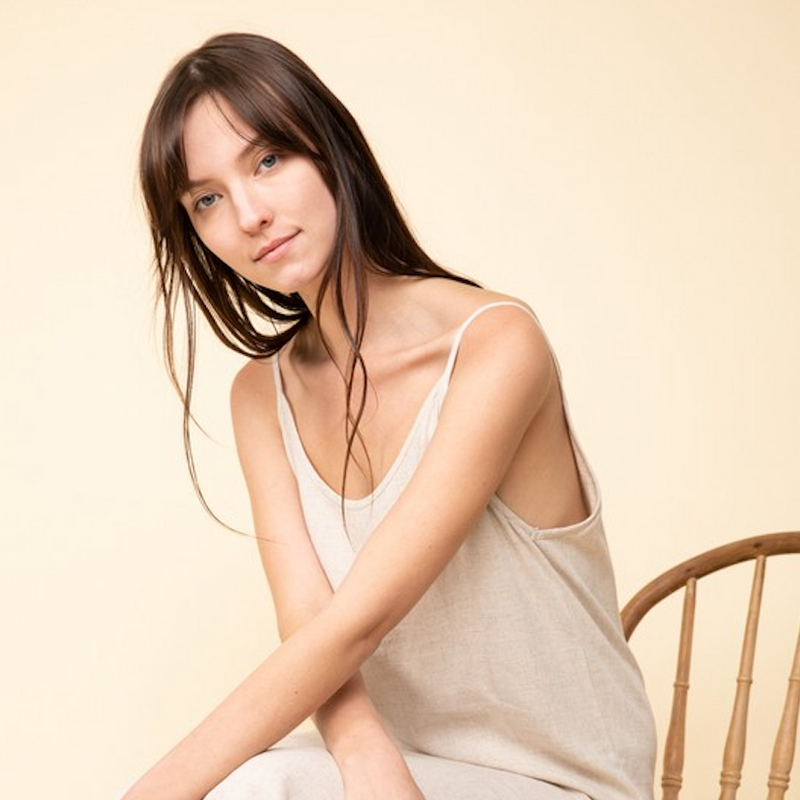 greige midi linen dress