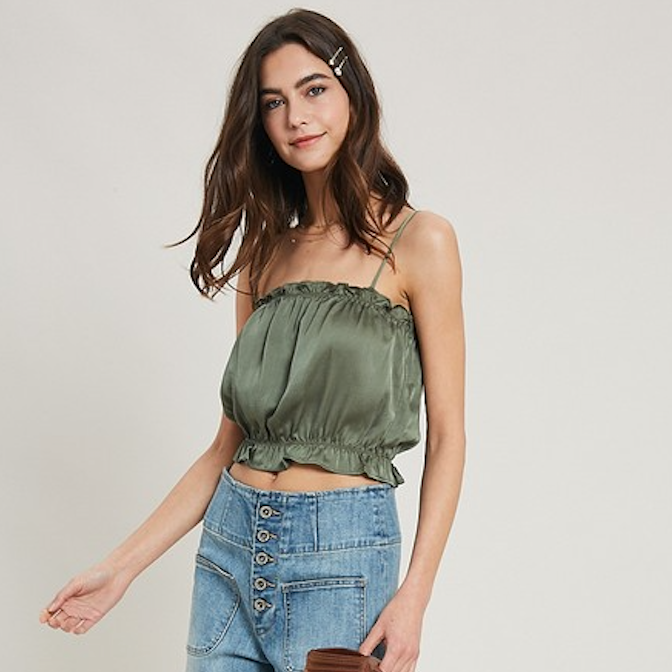 olive satin ruffle crop top