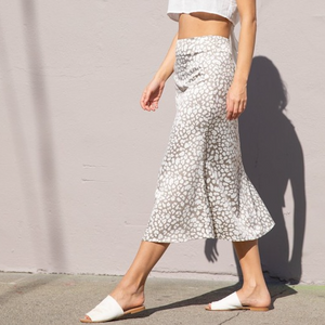 light leopard satin midi skirt