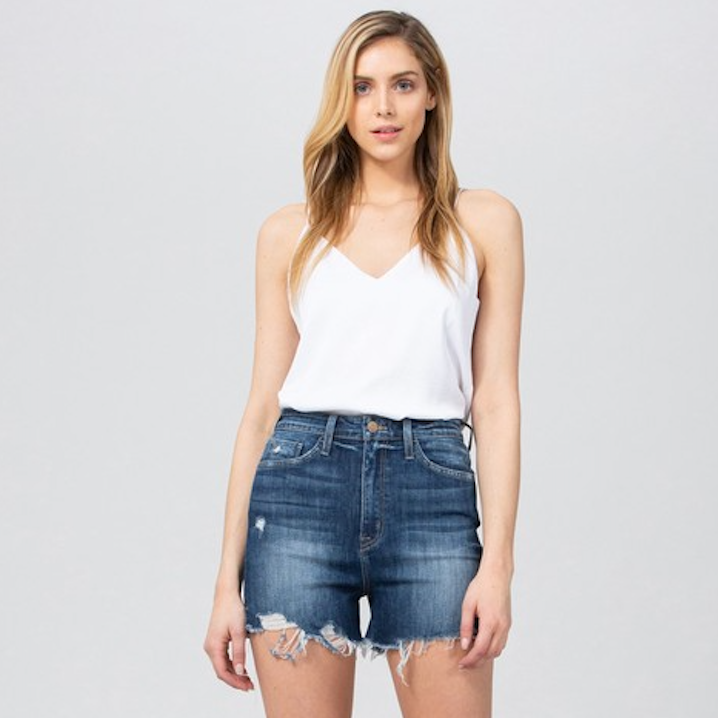 Blue Denim High Rise Shorts - Shop trendy womenswear styles on www.downerss.com