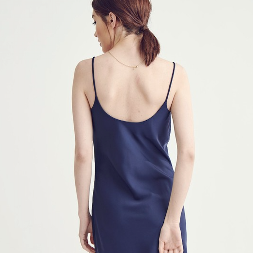 navy satin slip dress