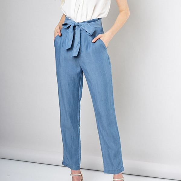 Denim Tie Pants - Shop trendy womenswear styles on www.downerss.com
