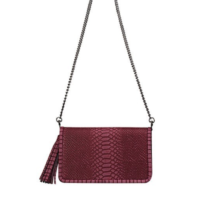 burgundy faux snakeskin clutch - Shop trendy womenswear styles on www.downerss.com