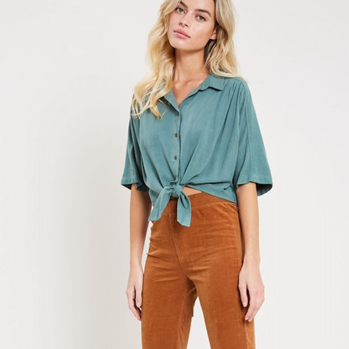 forest green button down crop
