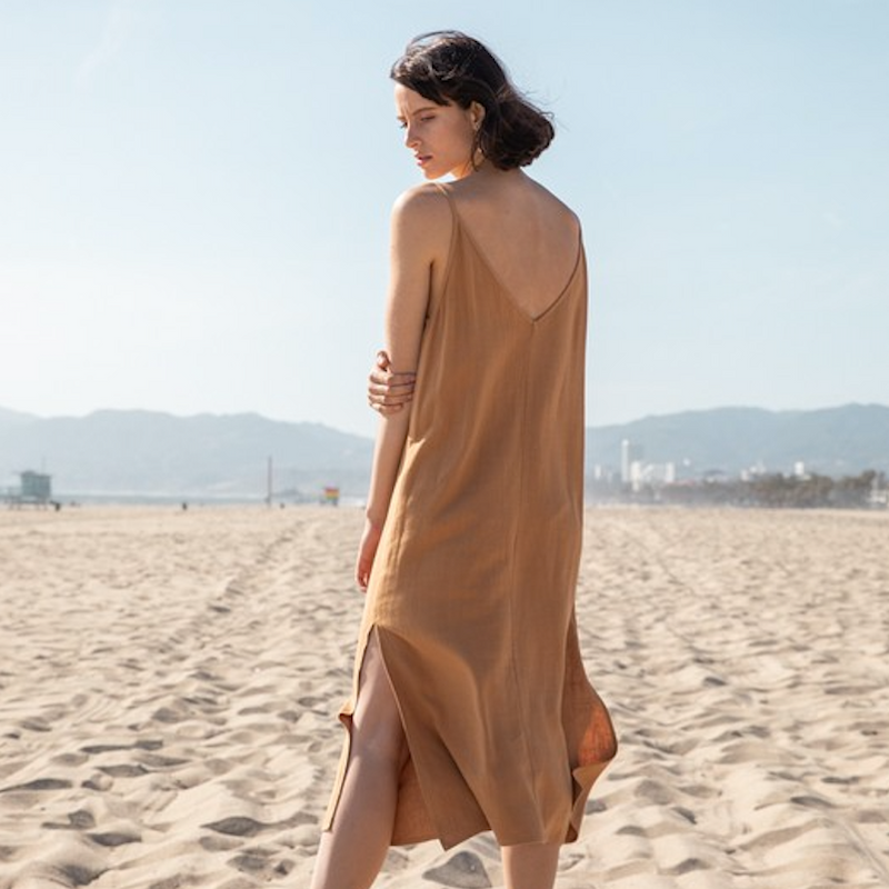 ochre midi linen dress