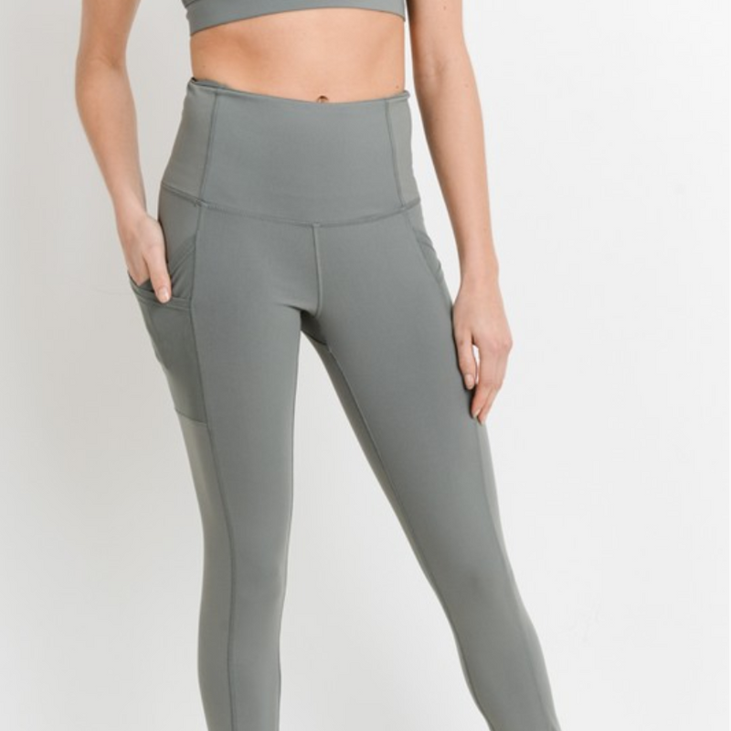 green high-waisted overlay side-pocket leggings