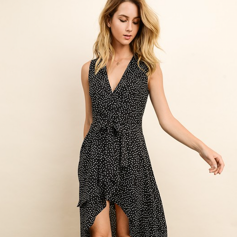 Black Polka Dot Ruffle Dress - Shop trendy womenswear styles on www.downerss.com