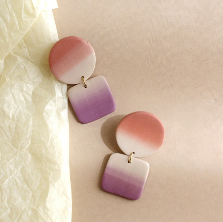 ombre gradient pink earrings