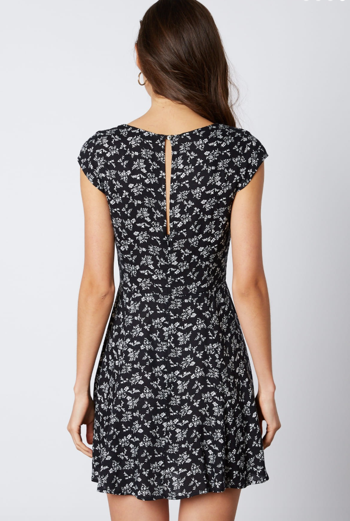dainty black floral dress