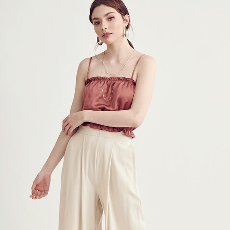 brick satin ruffle crop top - Shop trendy womenswear styles on www.downerss.com