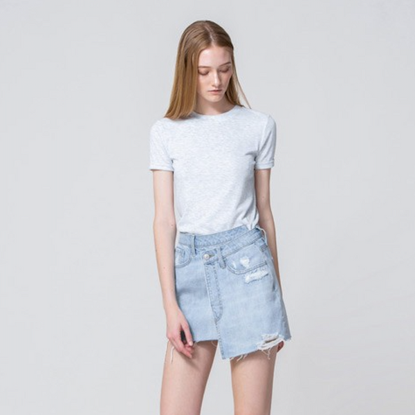 Denim High Rise Wrap Skirt