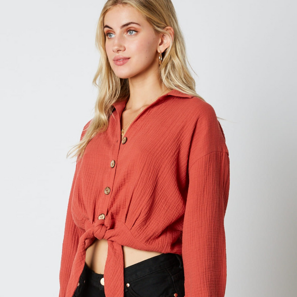 Rust Long Sleeve Blouse