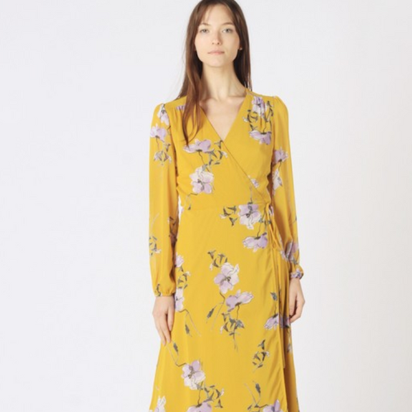 Winslow Yellow Floral Wrap Dress