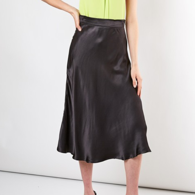 Black Satin Long Flare Skirt - Shop trendy womenswear styles on www.downerss.com