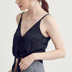 black satin button down tank top - Shop trendy womenswear styles on www.downerss.com