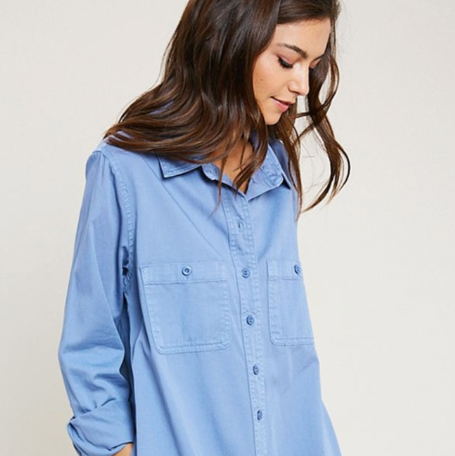 Blue Button Down Shirt Dress - Shop trendy womenswear styles on www.downerss.com