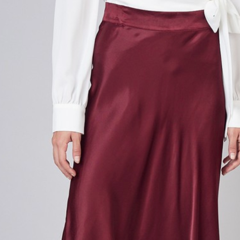 Plum Satin Long Flare Skirt