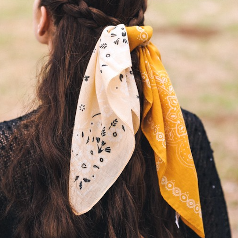 Yellow Two Tone Western Floral Bandana