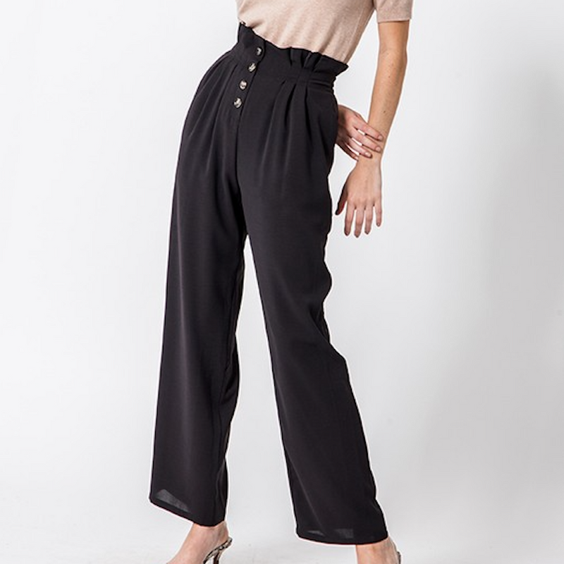 Button Front Paper Bag Waist Pants - Shop trendy womenswear styles on www.downerss.com