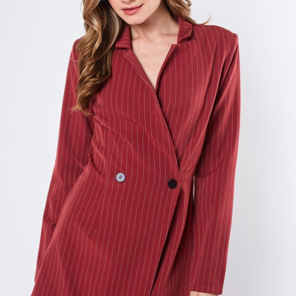 Clay Striped Tuxedo Romper - Shop trendy womenswear styles on www.downerss.com
