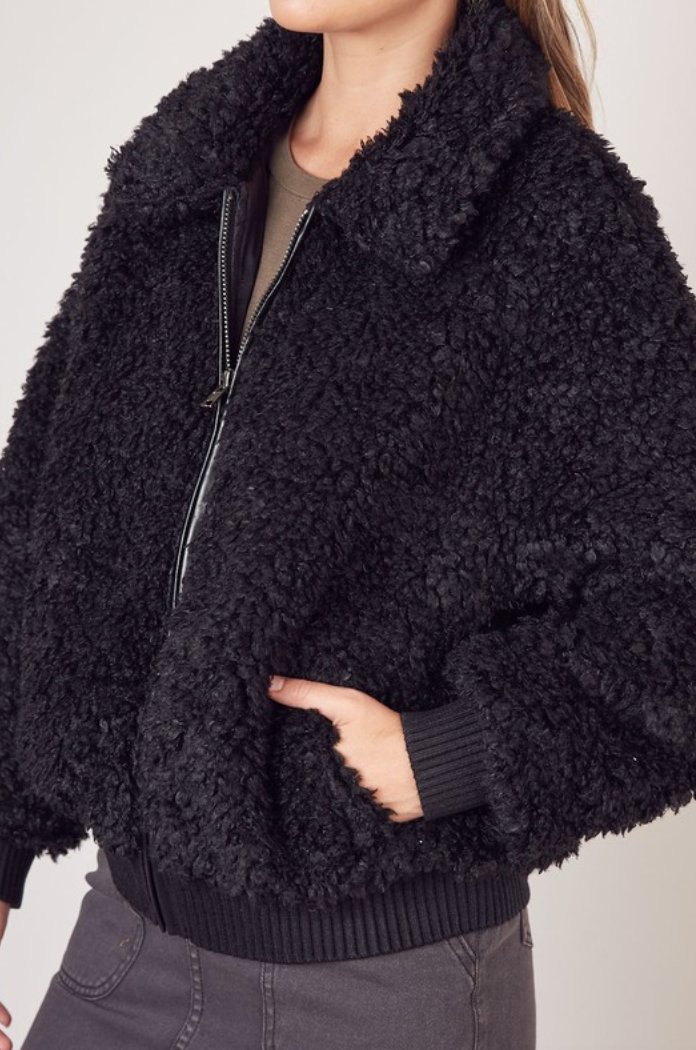 Black Fuzzy Faux Fur Bomber - Shop trendy womenswear styles on www.downerss.com