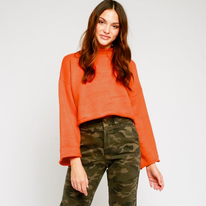 Orange Mock Neck Sweater