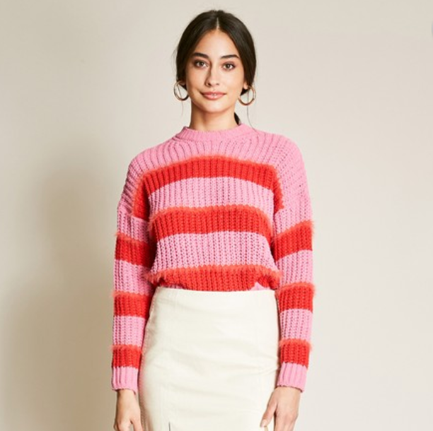Color-Blocked Fuzzy Sweater - Shop trendy womenswear styles on www.downerss.com