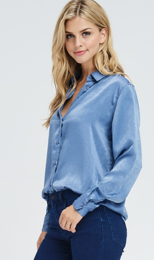 Blue Satin Button Down - Shop trendy womenswear styles on www.downerss.com