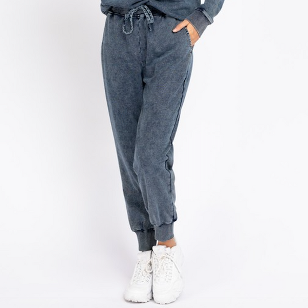 Washed Denim Sweatpants