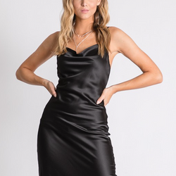 Black Satin Cowl Neck Dress